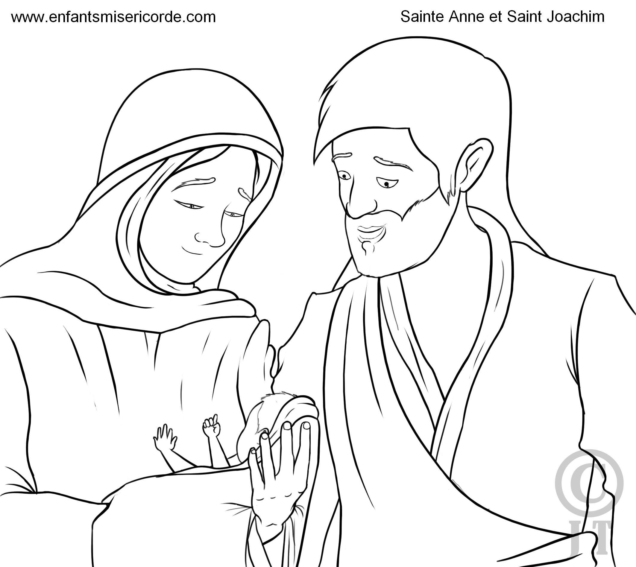 coloriage sainte Anne et saint Joachim