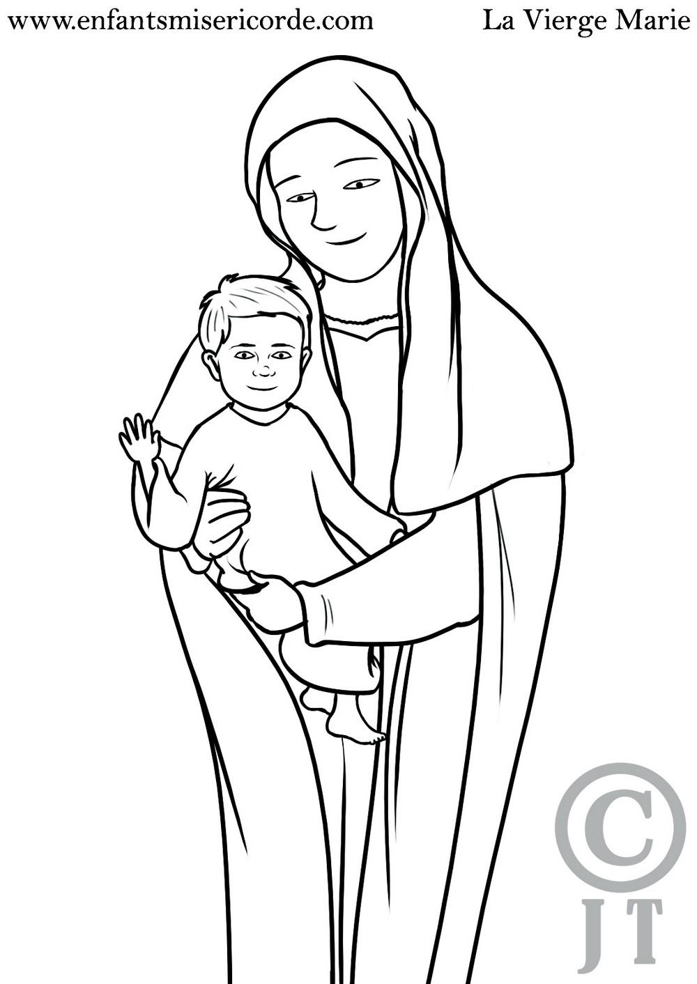 1 Coloriage Vierge Marie Enfants Misericorde 7 11 Ans
