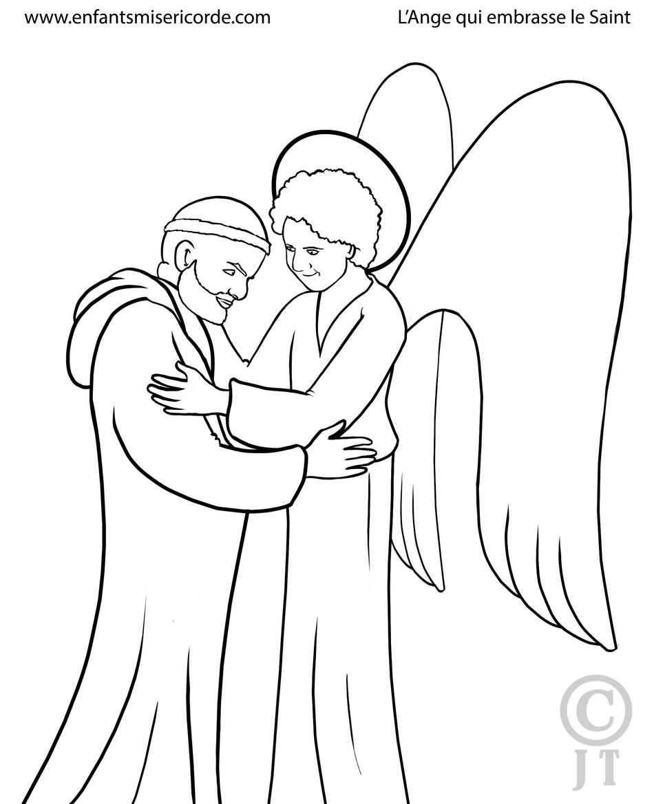coloriage le saint et l'ange